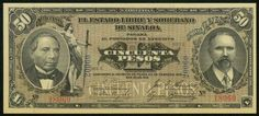1915 State of Sinaloa Mexico Fifty Pesos Currency Note Pick Number S1047 Crisp Uncirculated Banknote For your World or Mexican Currency Collection