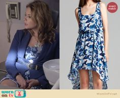 Hanna's blue camo dress on Pretty Little Liars. Outfit Details: http://wornontv.net/26373 #PLL #fashion