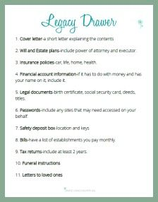 A legacy drawer is something everyone should have not for only you but your family as well. Get your FREE checklist to make setup a breeze! Family Emergency Binder, In Case Of Emergency, Emergency Preparedness Kit, Emergency Preparation, Survival Kit, Funeral Planning Checklist, Just In Case, Just For You, When Someone Dies