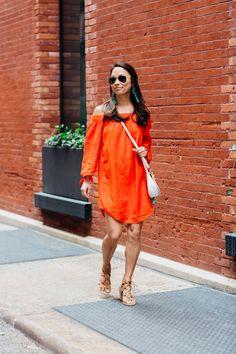 bright off the shoulder dress // #oldnavystyle #sayhi