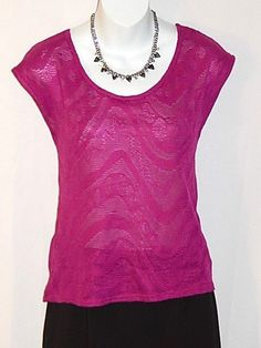 Aeropostale Aero Shirt Blouse Knit Top Magenta Lace Scoop Neck Sleeveless Size M #Aropostale #KnitTop #Casual