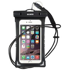 Waterproof Case, AOWIN Universal Cell Phone Dry Bag Pouch with Adjustable Military Lanyard Strap for swimming Kayaking Skiing Sledding Boating Surfing, Fits iPhone 6 6S Plus 5S SE Samsung Galaxy S7 S6 S5 S4, Note 5 4 3, LG G4 G5 G3. (Black)