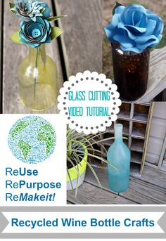 Wine Bottle craft with VIDEO tutorial for cutting glass! Repurpose and upcyle with this great craft!!