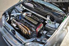 Love this engine bay.    #B16 #honda engine #clean engine bay #turbo #civic hatch #engine swap #braggenrites