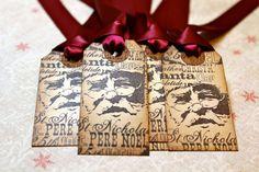 Vintage Inspired Holiday Gift Tags  Santa  Set by JacquelynVaccaro