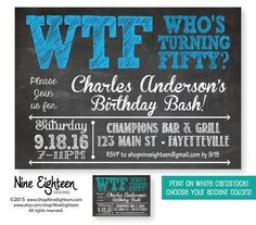 Surprise Birthday Party Invitation WTF Who's by NineEighteen Custom designed party invitation by Nine Eighteen Designs. I design and you print on regular white card stock. Visit my etsy stores for all your party printable needs. 50th Birthday Party Ideas For Men, Moms 50th Birthday, Adult Birthday Party, 40th Birthday Parties, Surprise Birthday, Fifty Birthday, Birthday Stuff, Husband Birthday, Happy Birthday