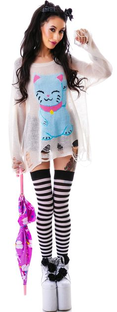 Wildfox Couture Fat Cat Lenon Sweater | Dolls Kill - it comes in green and I'm in love with it.