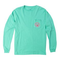 Watercolor Logo Long Sleeve Tee Shirt in Florida Keys by The Southern... ($36) ❤ liked on Polyvore featuring tops, t-shirts, shirts, long sleeve shirts, t shirts, green long sleeve shirt, logo tees, longsleeve tee, green shirt and green long sleeve tee