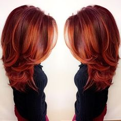 this vibrant firey red look was made with Redken City Beats color by glossy hair balayage color melt haircolor inspiration red hair copper hair Red Balayage Hair, Balayage Color, Auburn Balayage, Cheveux Oranges, Red Hair Color, Red Color, Hair Colors, Colour, Vibrant Red Hair