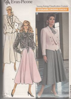 Vintage sewing pattern 1980s Butterick 5778 by SewVintageCo, $7.00  Blouse with tie collar, skirt suits 1980s fashion