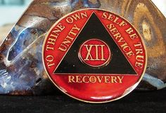 Red Blacktri Plate Alcoholics Anonymous 12 Year Medallion Coin Chip Token | eBay