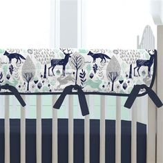 Crib bedding to complete the perfect nursery by Carousel Designs. All of our nursery bedding collections are made in the USA and available for both baby boys and baby girls. Woodland Crib Bedding, Crib Bedding Boy, Woodland Nursery Decor, Comforter, Baby Boy Nurseries, Baby Cribs, Mint Nursery, Nursery Boy, Crib Rail Cover