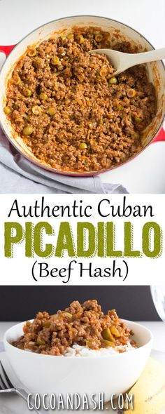 Cuban Picadillo – Coco and Ash Cuban Picadillo recipe dinner ground beef Cuban Dishes, Beef Dishes, Comida Latina, Beef Picadillo, Tostadas, Cuban Cuisine, My Burger, Burgers, Gastronomia