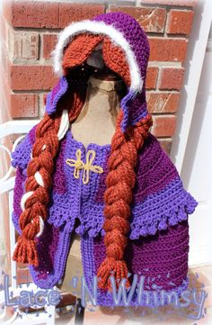 Lace and Whimsy: Free Crochet Pattern Frozen Anna Cape Costume Más Crochet Princess, Crochet Girls, Crochet For Kids, Crochet Halloween Costume, Crochet Costumes, Halloween Costumes, Baby Costumes, Disney Crochet Patterns, Crochet Disney