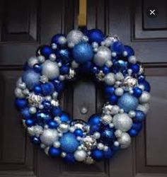 Beautiful blue and silver Christmas Ornament Wreath shatterproof ornaments on Ets Winter Christmas, Christmas Home, Christmas Island, Christmas Cactus, Christmas 2019, Christmas Vacation, Half Christmas, Christmas Trees, Green Christmas