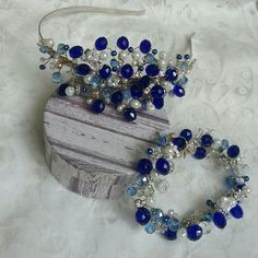 Royal blue white jewelry set. Blue crystal pearl tiara and