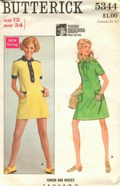 Young Designer: Prue Acton, Butterick 5344, size 10, bust 32 1/2, used, complete