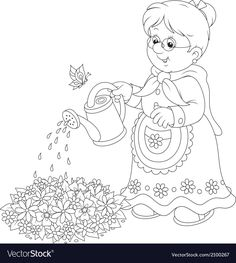 Granny watering flowers vector image on VectorStock Cute Coloring Pages, Disney Coloring Pages, Adult Coloring, Coloring Books, Precious Moments Coloring Pages, Precious Moments Quotes, Printable Christmas Coloring Pages, Free Printable Coloring Pages, Family Drawing