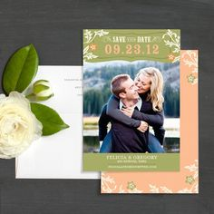 Pink and Green Western Woodblock Floral Save The Date Photo Card