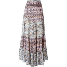 See By Chloé Boho Floral Print Maxi Skirt ($374) ❤ liked on Polyvore featuring skirts, long a line skirt, long bohemian skirts, long maxi skirts, long pleated skirt and long skirts