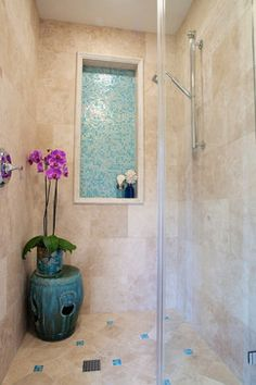 Turquoise Tile Design Ideas  Great idea for the shower cubby