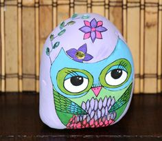 Hand Painted Stone  Owl Art by Milana by MsEnchantedStones on Etsy, $95.00
