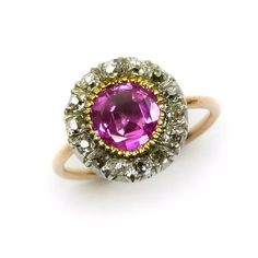 Antique ruby and diamond cluster ring, c.1790