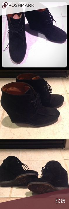 """Nine West Black Suede Booties Perfect fall and winter ankle booties!  In great condition, the Nine West Vintage America Collection feature approx 3.5"""" wedge heel with a lace up ankle boot.  A must have for any closet. Nine West Shoes Ankle Boots & Booties"""