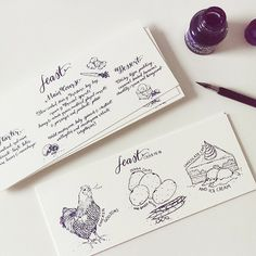 custom menu wedding stationery handdrawn illustrated pen and ink calligraphy curioume design
