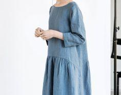 Bluish grey linen kimono tunic/dress. Washed door notPERFECTLINEN