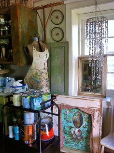 Jennifer Lanne studio.  My cart of mistint paints. Another mans trash is my treasure!