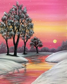 Join us for a Paint Nite event Mon Apr 2015 at 99 Sisson Avenue Hartford, CT. Purchase your tickets online to reserve a fun night out! Easy Canvas Painting, Simple Acrylic Paintings, Winter Painting, Winter Art, Easy Paintings, Beautiful Paintings, Diy Painting, Landscape Paintings, Canvas Art