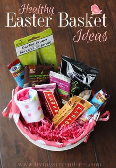 Have a child with food restrictions? Food allergies? If so, you'll want to check out my ideas for a healthier, but just as fun Easter basket! www.livingsurrendered.com #diabetic #Easter #glutenfree