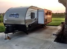 One slide out on our new travel trailer / camper - this is the Grey Wolf DBH 2016 - bought at AC Nelson Camper World in Omaha, NE