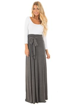 7f4cb1e741 Lime Lush Boutique - Charcoal Maxi Skirt with Waist Tie and Slit Detail