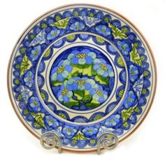 Colorful Ceramic Decorative Plate, Wall Decor in Mediterranean Blue and Green