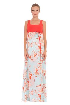 Savannah Maxi Maternity Dress in Aqua & Orange Butterfly Print. We have 31 new arrival products this week. Please use coupon code NewProducts to receive 15% off these items. To receive the discount, please place your order by midnight Monday, February 22, 2016