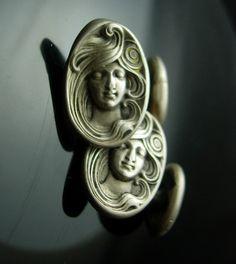 Antique Alphonzo Mucha cufflinks Art nouveau by NeatstuffAntiques