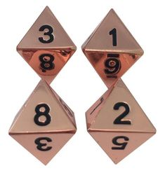 Metal Dice - 4 Pack Of D8 - Copper Metal Dice