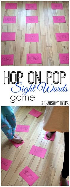 on Pop Sight Words Game This Hop on Pop gross motor game is great for teaching sight words and rhyming. Perfect for a Dr. Seuss unit too.This Hop on Pop gross motor game is great for teaching sight words and rhyming. Perfect for a Dr. Seuss unit too. Teaching Sight Words, Sight Word Practice, Sight Word Games, Sight Word Activities, Rhyming Words, Gross Motor Activities, Literacy Activities, Educational Activities, Literacy Centers