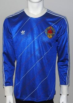 Yugoslavia Adidas football jersey. size 48-50 (M) A 56cm B 75cm season 1984 Adidas made in Yugoslavia long sleeve 53% cotton 47% polyester. | eBay!