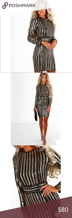 NEW - NWT Black and Gold Long Sleeve Bodycon Mini NEW - NWT Black and Gold Long Sleeve Bodycon Mini Dresses Mini
