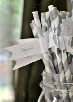 another cute idea for place cards. wrap the name around a straw, place inside of mug.