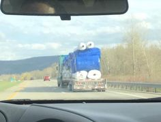 The load on the back of this truck looks like Cookie Monster.