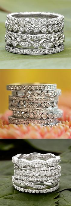 Any one of these diamond rings would be lovely as an engagement ring. Pair with a plain white gold wedding band, or with an additional chip diamond band for the wedding. Bling Bling, Diamond Wedding Bands, Diamond Engagement Rings, Oval Engagement, Engagement Bands, Male Wedding Bands, Wedding Jewelry, Wedding Rings, Gold Wedding