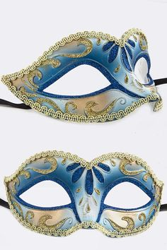 Royal Blue & Gold Venetian Mask
