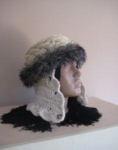 Ladies Trapper Hat Handmade hat Winter hat Warm hat Modern hat Woman Clothing Accessories for winter by BoryanacrochetBG on Etsy