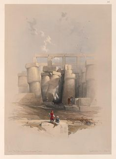 Part of the hall of columns at Karnak, Thebes by David Roberts