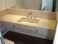 bancada em mármore travertino com saia para pia do banheiro - Pesquisa Google