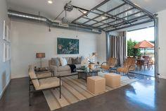 garage door living room tailored valances for bridging the gap inspiring indoor outdoor spaces dream house